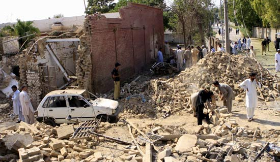 A view of a police station destroyed by a suicide bomb blast in Kohat, Pakistan.